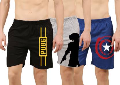 Hotfits Printed Men Blue, Black, Grey Regular Shorts