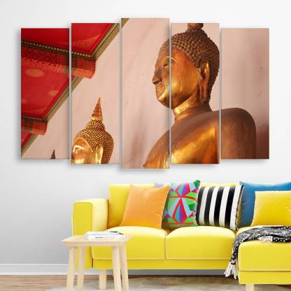inephos Inephos Multiple Frames Beautiful Buddha Wall Painting for Living Room, Bedroom, Office, Hotels, Drawing Room   Split Painting of 5 (150cm x 76cm) Digital Reprint 30 inch x 52 inch Painting
