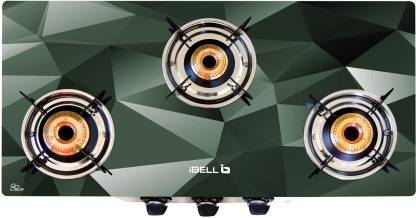 iBELL 03D4 Glass Top 3 Burner Stainless Steel Manual Gas Stove