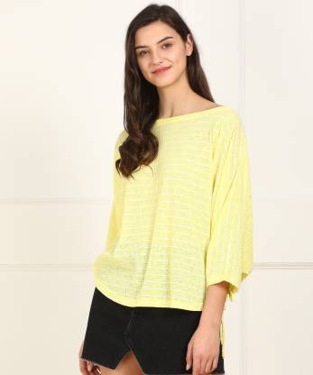 AND Casual Cape Sleeve Striped Women Yellow Top