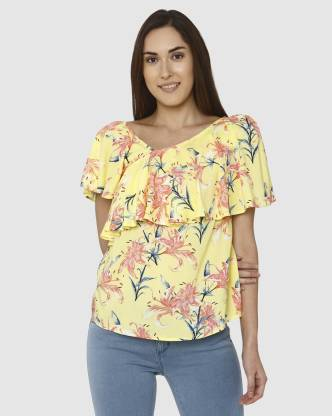 Casual Cape Sleeve Printed Women Yellow Top