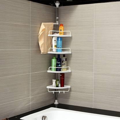 Bi3 I3 Blossoms 4 Tier Adjustable Bathroom Organiser Corner Shower Stainless Telescopic Shelf Rack Caddy 95 300cm Stainless Steel Plastic Wall Shelf Price In India Buy Bi3 I3 Blossoms