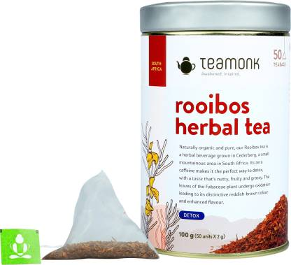 Teamonk Rooibos Herbal Tea, 50 Teabags | Helps in Detoxification | Sourced from South Africa Unflavoured Herbal Tea Bags Tin