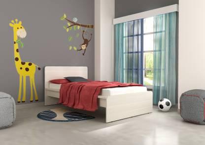 Akshni Marc Engineered Wood Single Bed Finish Color   Oak  Akshni Beds