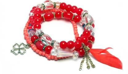 Crystal Beads Charm Bracelet(Pack of 4)