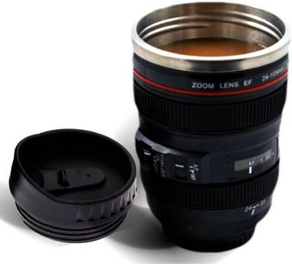 CLOMANA Camera Lens Coffee Mug Flask With Cookie Holder, Black Stainless Steel Mug 25 Coffee Maker