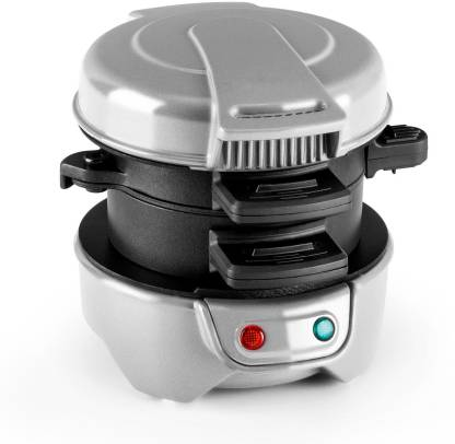 Pheebs Breakfast Sandwich Maker and Adjustable Burger & English Muffins, Biscuits, Small Bagels Maker with Cool Touch Handle and Lid Lock, White (with User Manual) Toast