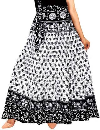 Unique Choice Printed Women Wrap Around White Skirt