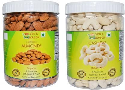 Veg E Wagon Almonds Regular & Cashew Bold XXl (500 Each) In Pet Jar Cashews, Almonds Plastic Bottle(2 x 500...