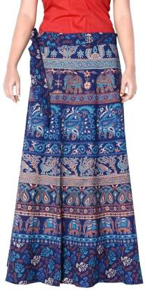 Rangun Printed Women Wrap Around Blue Skirt
