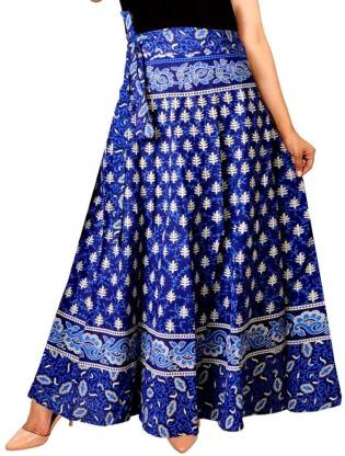 Unique Choice Printed Women Wrap Around Blue Skirt