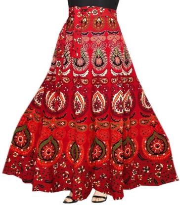 Women Printed Wrap Around Maroon Skirt
