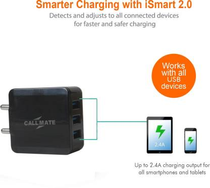 Callmate LC090 3.1Amp 3 USB Home / Travel Adapter 3.1 A Multiport Mobile Charger with Detachable Cable   Black  Callmate Wall Chargers