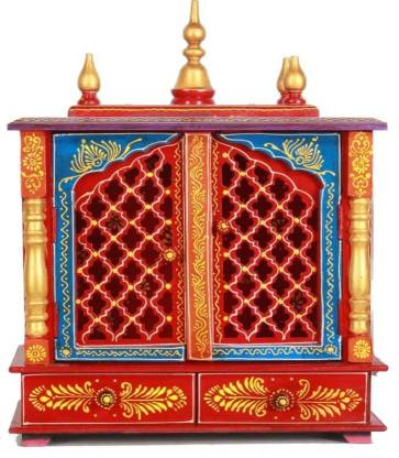 Marusthalee Pooja Mandir with door and Led Light Solid Wood Home Temple