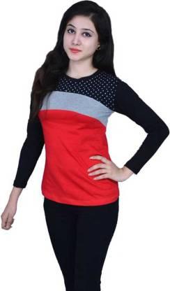 Himgiri International Printed, Color Block Women Round Neck Red T-Shirt