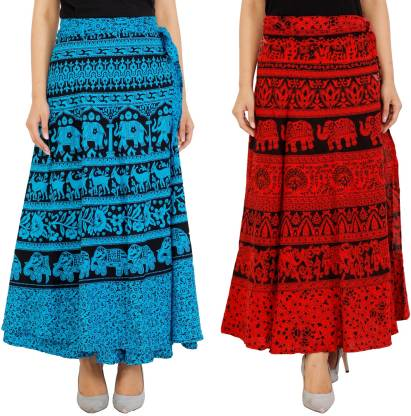 MODERN KART Animal Print Women Wrap Around Red, Blue Skirt