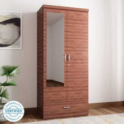 HomeTown Ultima 2 Door With Mirror Rwlnt Engineered Wood Almirah  (Finish Color - Regato Walnut) Almari
