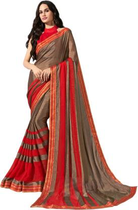 Self Design Fashion Chiffon Saree  (Brown)