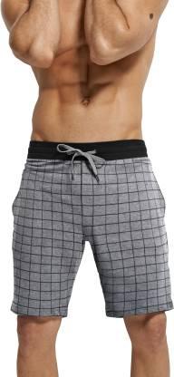 Tripr Checkered Men Grey Regular Shorts