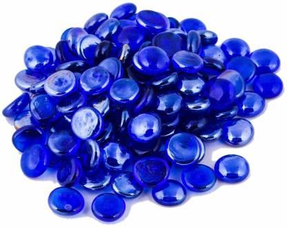 PartyballoonsHK Decorative Glass Stones for Aquarium, Home Decorations, Vase Filler, Table Scatter, Aquarium Decor, Gems (Blue) Regular Round Marble Pebbles