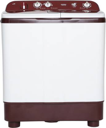 Haier 8 kg Semi Automatic Top Load White, Maroon  (HTW80-1128BT)