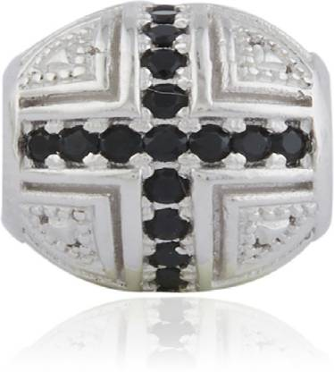 Linkingcharms Black and White Charm Sterling Silver Beaded Charm