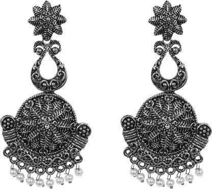 ayesha antique silver floral chandelier earrings with pearl bead charms Metal Drops & Danglers
