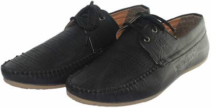 Black Loafer with Laces Italian Leather Boat Shoes For Men(Black)
