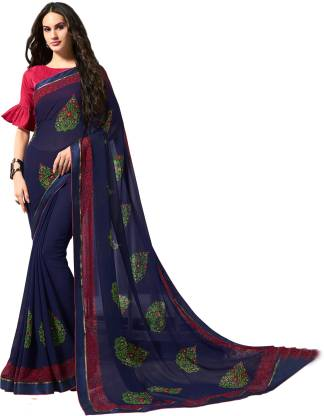 Printed Fashion Chiffon Saree  (Blue)