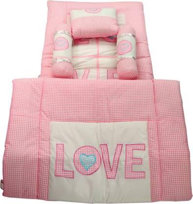 Vls Lifestyle 5pcs Baby Bedding Set, Pink Gingham Baby Bedding