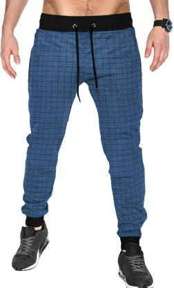 Tripr Checkered Men Dark Blue Track Pants