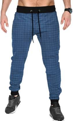 Tripr Checkered Men Dark Blue Track Pants