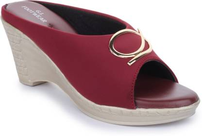Global India Women Maroon, Silver Wedges