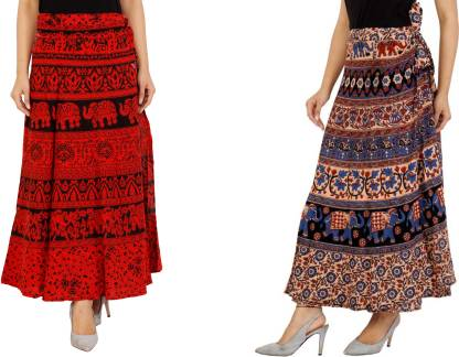 Modern Kart Printed Women Wrap Around Red, Beige Skirt