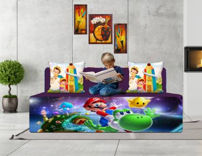 Aart Store 4X6 Feet Two Seater Printed Fold Out Kids Sofa Cum Bed with Two Cushion Single Sofa Bed