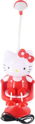 Mopi 2 in 1 LED Night/Study Lamp Red Kitty Lovely lamp (Pack of 1-Red)-40cm-Height Table Lamp