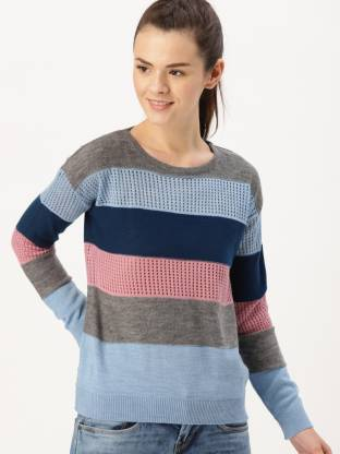 Dressberry Self Design Round Neck Casual Women Blue, Grey Sweater
