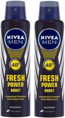 Nivea Men Fresh Power Boost Deodorant Spray - For Men (300 ml, Pack of 2)