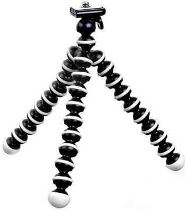 dirAr Flexible Octopus Gorilla Pod Tripod + Mobile Holder Clip Tripod Kit, Monopod Kit Flexible with Mount & Long screw Tripod Kit (Black, White, Supports Up to 1200 g) Tripod