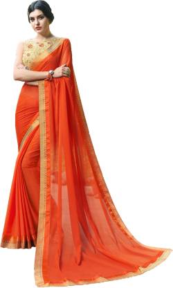 Applique Fashion Chiffon Saree  (Orange)