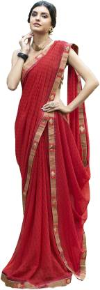 Printed Fashion Chiffon Saree  (Red)