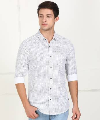 Wrangler 20X Men Printed Casual White, Dark Blue Shirt