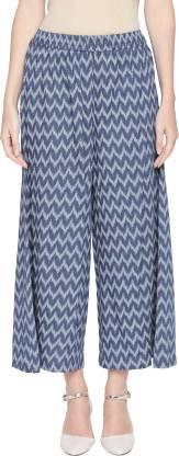 Regular Fit Women Blue Rayon Trousers