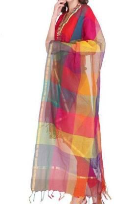 Handloom Cotton Silk Checkered Women Dupatta