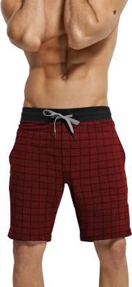Tripr Checkered Men Red Regular Shorts