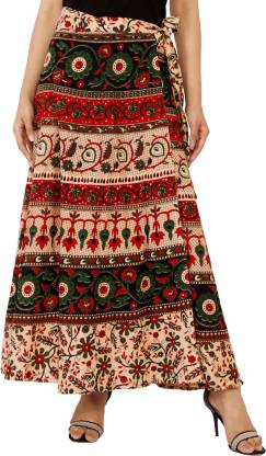 Modern Kart Printed Women Wrap Around Multicolor Skirt