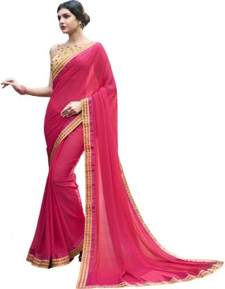 Solid Fashion Chiffon Saree  (Pink)