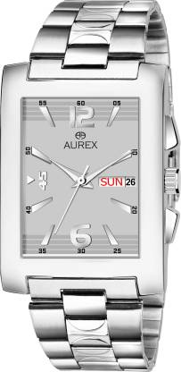 AUREX AX-GSQ152-GRYC Elegant Grey Dial Square Shaped Day & Date Functioning Stainless Steel Bracelet Premium Watch for Men/Boys Analog Watch - For Men