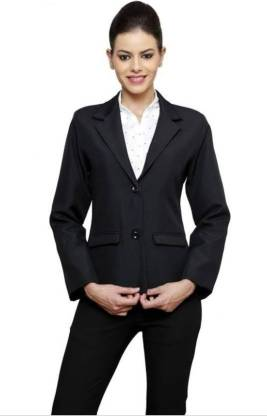 One Click Solid Double Breasted Formal Women Blazer