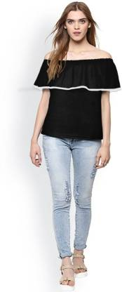 Casual Cape Sleeve Solid Women Black Top